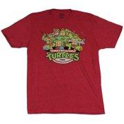 Teenage Mutant Ninja Turtles Mens T-Shirt - Distressed Attacking 1984 Circle