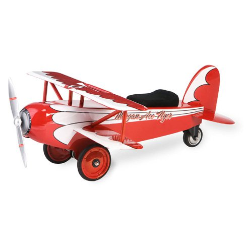Morgan Cycle Vintage  Ace Flyer BiPlane Riding Push Toy