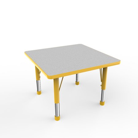 30in Square Everyday T Mold Adjustable Activity Table Grey Yellow Chunky With Four 10in Stack Chairs Yellow Ball Glide