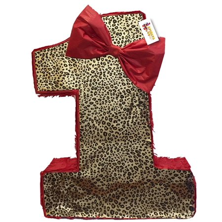 - APINATA4U Red & Leopard Print Number One Pinata 20