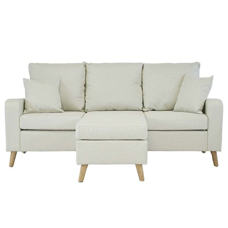 Mid Century Modern Linen Fabric Small Space Sectional Sofa with Reversible Chaise (Beige) ()