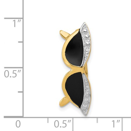 14k Yellow Gold Enameled Sunglasses Pendant Charm Necklace Slide Fine Jewelry For Women Gifts For Her - image 3 de 6
