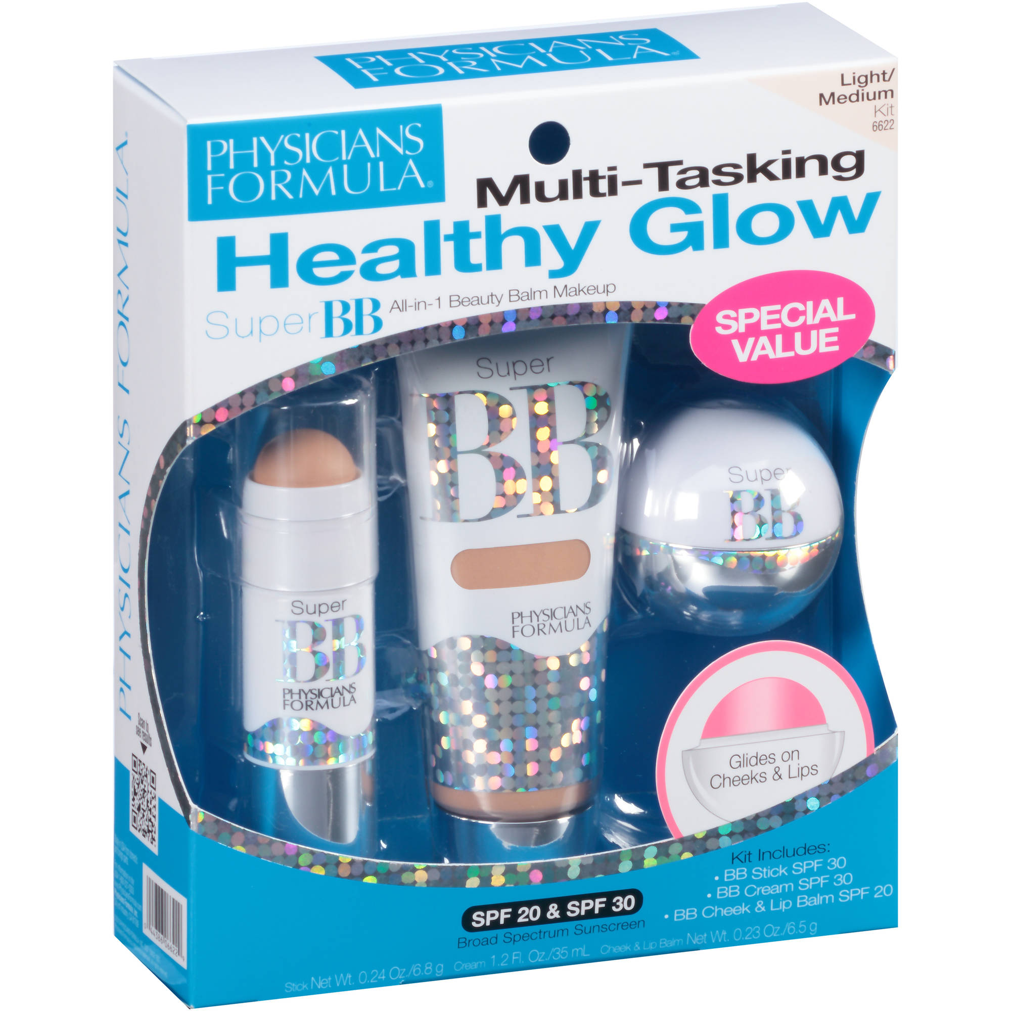 Physician's Formula Healthy Glow Super BB Beauty Balm Makeup Kit, Light/Medium, 3 pc