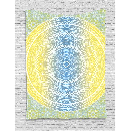 Blue And Yellow Tapestry Ombre Mandala Oriental Universe Spirit And Ritual Themed Symbol Image Art Wall Hanging For Bedroom Living Room Dorm Decor