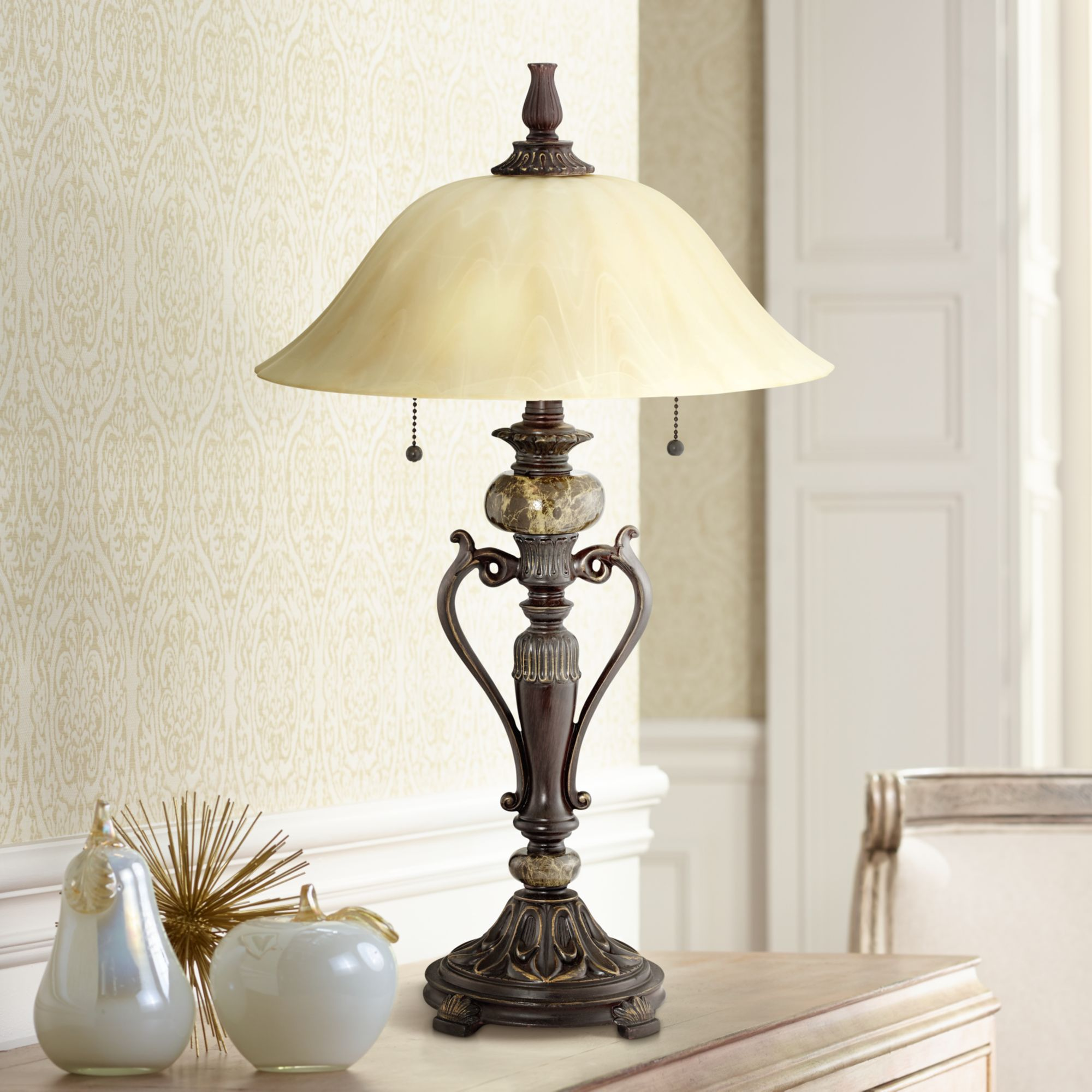 Kathy Ireland Amor Collection Glass Shade Table Lamp In Bronze by Kathy Ireland