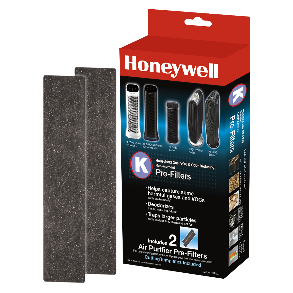 Honeywell Odor & Gas Reducing Pre-Filter K, 2 Pack, HRF-K2