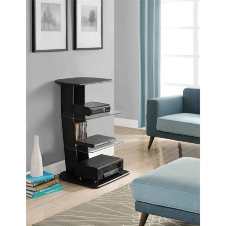 Altra Galaxy Media Storage Bookcase with glass shelves, Black Finish