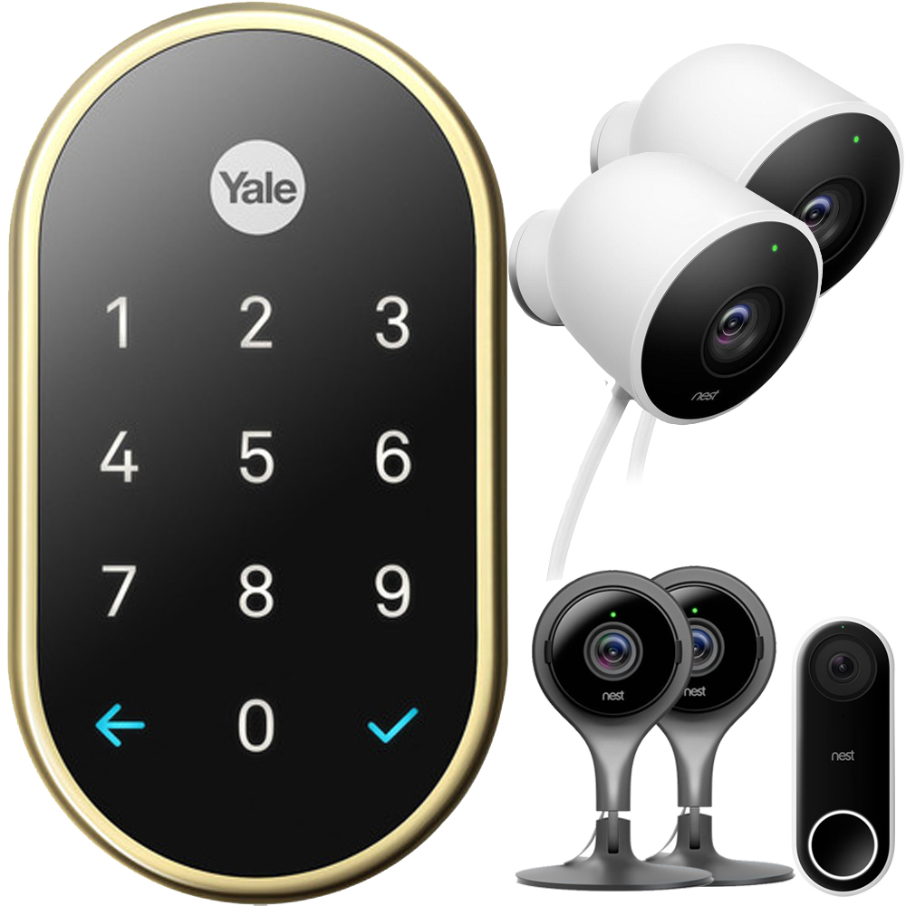 Nest x Yale Lock with Nest Connect - (Polished Brass) with Security Bundle Includes, Hello Smart Wi-Fi Video Doorbell + 2x Cam Indoor, Black + 2x Outdoor Security Camera, White