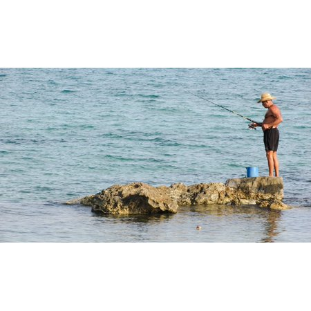 046ba5ca880 LAMINATED POSTER Fisherman Leisure Hobby Fishing Beach Man Sea Poster Print  24 x 36 - Walmart.com