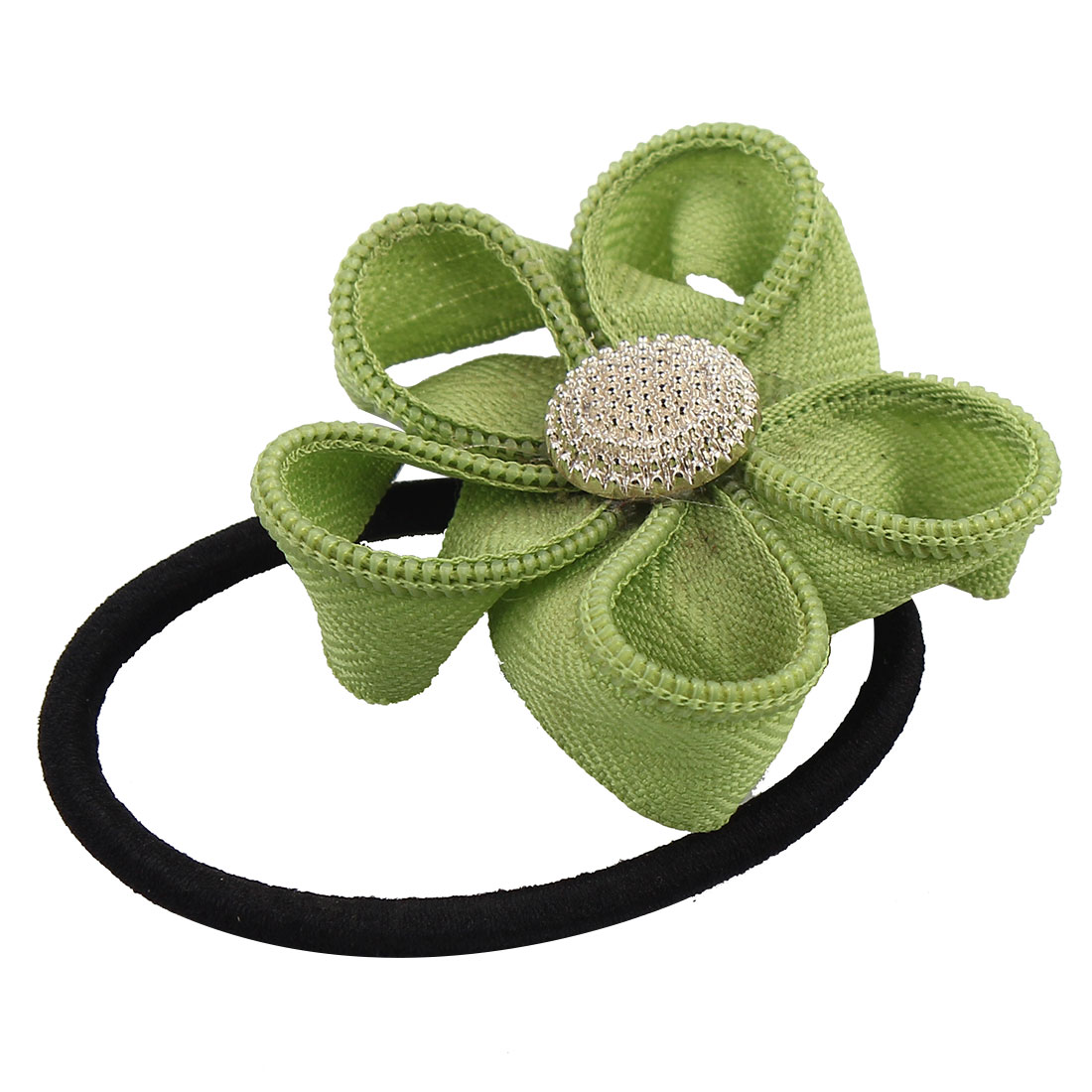 Unique BargainsRubber Bowknot Decor Hairstyle Elastic Ponytail Holders Hair Bands Green Black