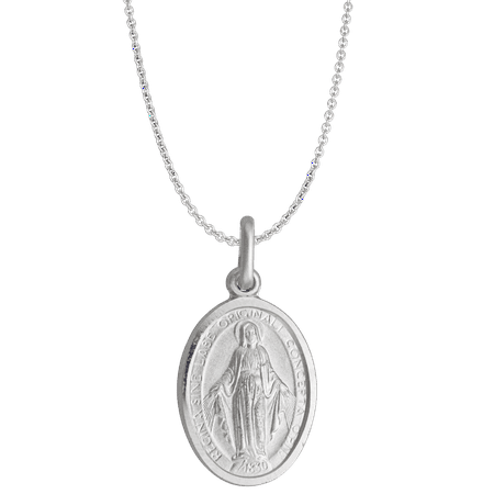 Sterling Silver mm Oval Virgin Mary Medal