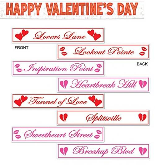 Maven Gifts: Metallic Happy Valentine's Day Banner Party Accessory and Board Stock Hanging Valentines Signs