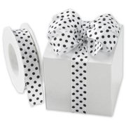 Deluxe Small Business Sales WPD-82 1 in. x 22 yds. Polka Dots Wired Ribbon, Black on White