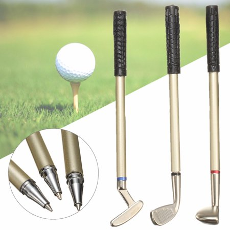 3PCS Metal Mini Golf Club Putter Ball Pen Ballpoint Writing Golfers Souvenir Gift Box Set Desktop
