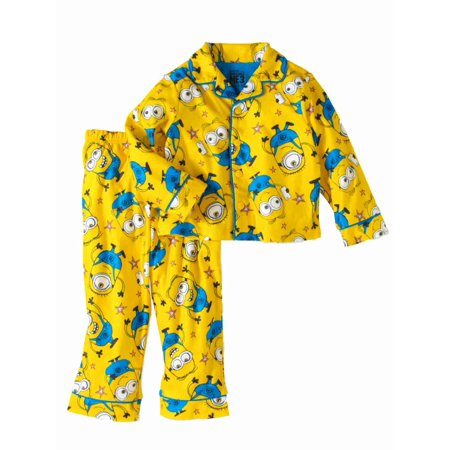 Despicable Me Toddler Boys Yellow Flannel Minions Pajamas Sleep - Despicable Me Fabric
