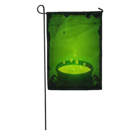 KDAGR Witch Halloween Witches Cauldron Green Potion and Spiders Brew Cartoon Garden Flag Decorative Flag House Banner 12x18 inch](Halloween Cartoon Cauldron)