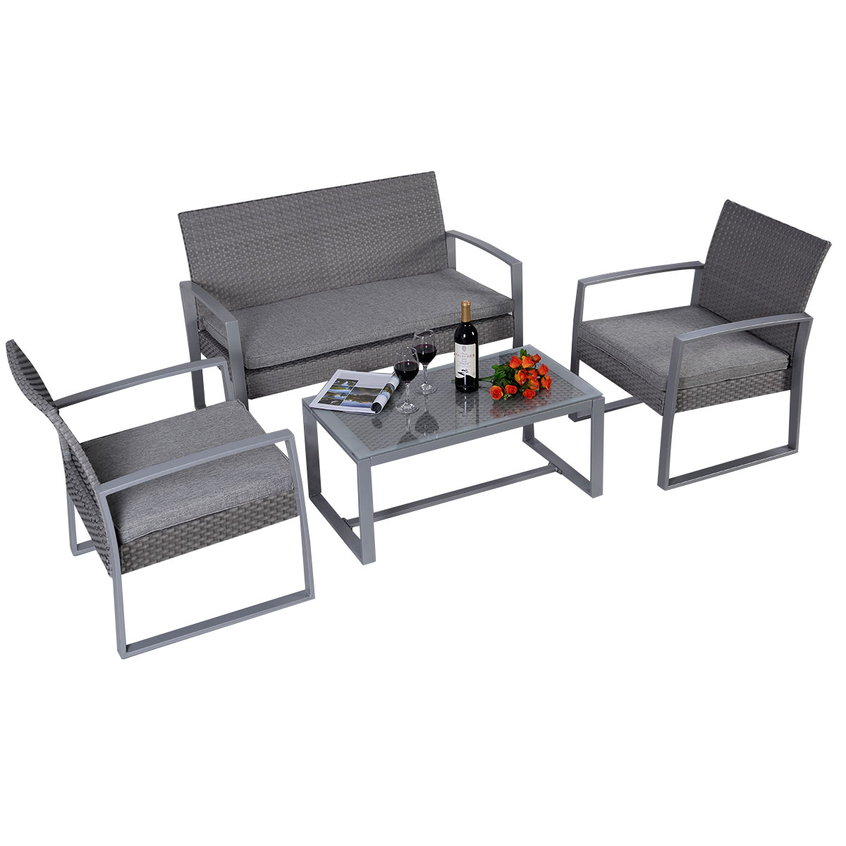 costway 4pc patio furniture set cushioned outdoor wicker rattan garden lawn sofa seat walmartcom