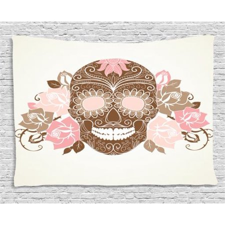 Sugar Skull Tapestry, Romantic Sugar Skull Figure with Roses and Thorns in Pastel Colors, Wall Hanging for Bedroom Living Room Dorm Decor, 60W X 40L Inches, Chocolate Rose Cocoa, by Ambesonne
