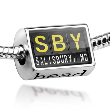 Bead SBY Airport Code for Salisbury, MD Charm Fits All European Bracelets - City Of Salisbury Md