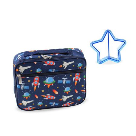Keeli Kids Boy Outer Space Rocketship Lunch Box with Matching Sandwich Cutter in Dark Navy -