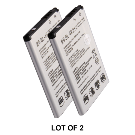 World Star™ Standard Replacement 2X Battery BL-49JH EAC63138801 1940mAh for LG K120E K4 K120 in Non-Retail Pack with 2-Year Limited Warranty