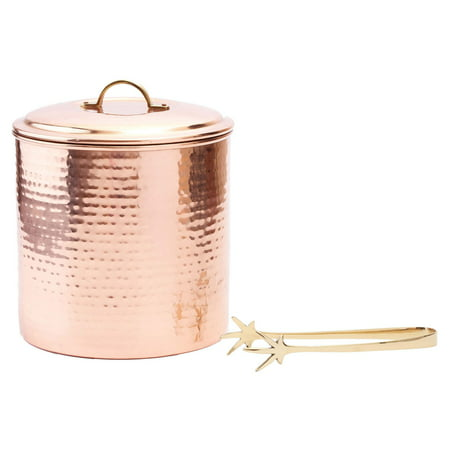 3 Qt. Hammered Copper Ice Bucket with Tongs