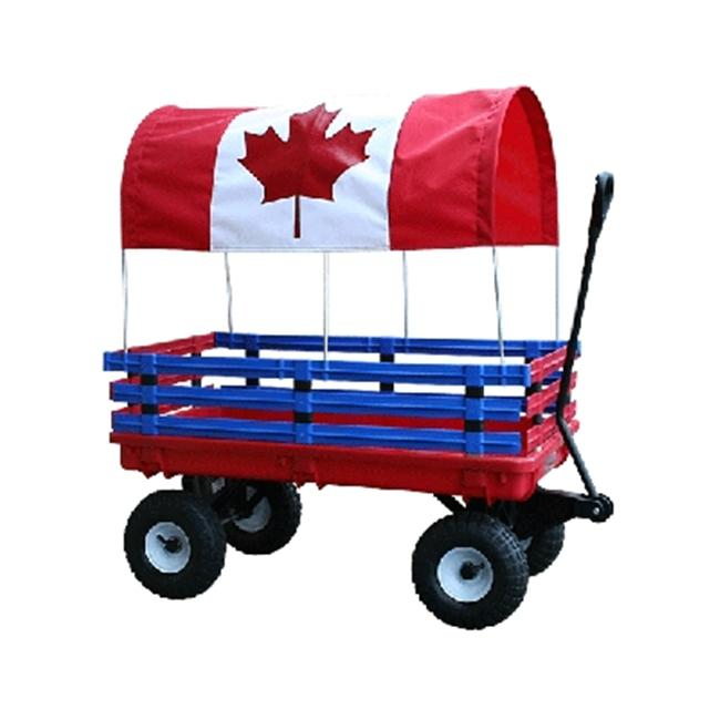 Millside Industries 04204 20 inch x 38 inch Plastic Deck Wagon with 4 inch x 10 inch Tires - Red