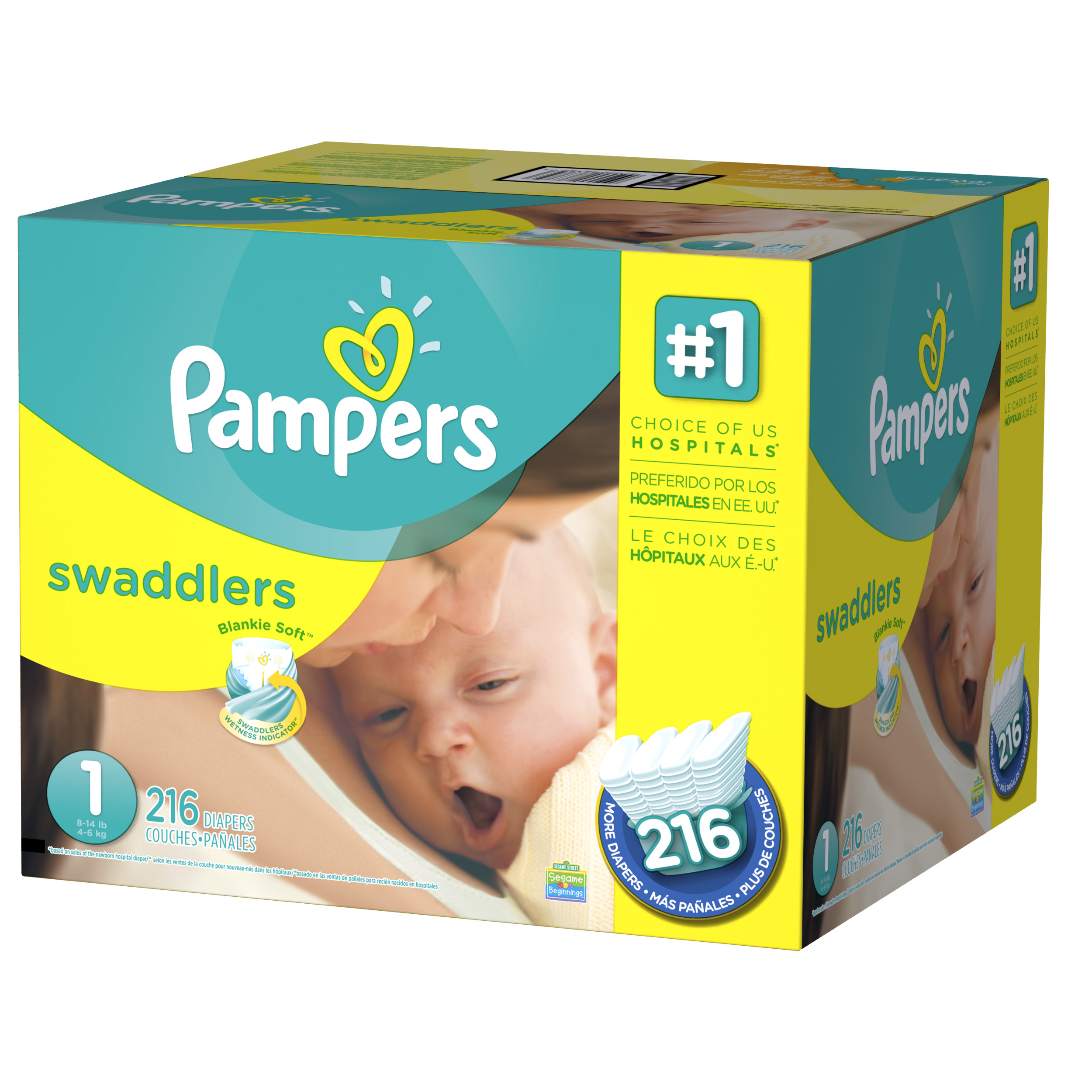 Pampers Swaddlers Diapers Size 1 216 Diapers Walmart