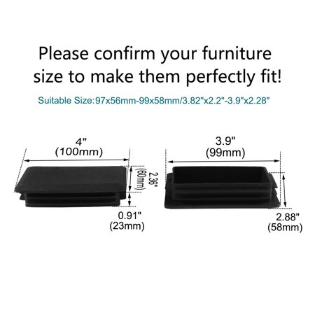 60 x 100mm Plastic Rectangle Ribbed Tube Inserts End Cover Floor Protector 24pcs - image 6 of 7
