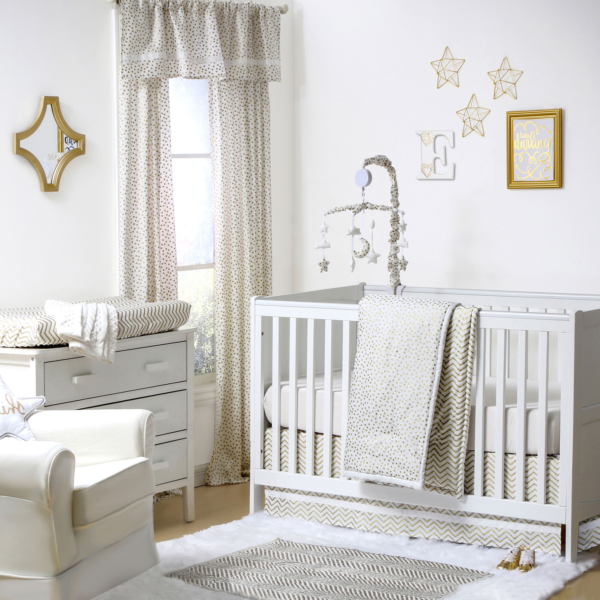 The Peanut Shell 4 Piece Baby Girl Crib Bedding Set - Gold Zig Zag and Polka Dot Prints - 100% Cotton Quilt, Dust Ruffle, Fitted Sheet, and Mobile