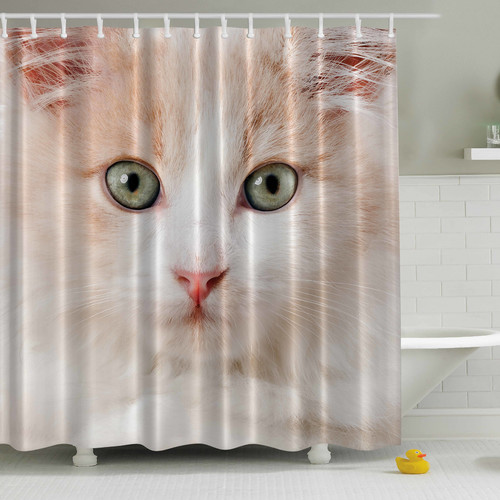 Ambesonne Cat Close Up Print Single Shower Curtain