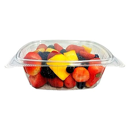 Koda Cup 32 oz. (Quart Size) RPET Clear Plastic Hinged Lid Deli Meal Prep Fruit Salad Display Food Storage Containers 100% BPA Free (Pack of - Plastic Food Display