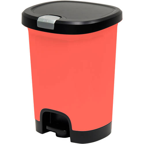 Hefty 7-Gal Textured Step-On Trash Can with Lid Lock and Bottom Cap by HMS Mfg. Co.