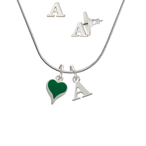Small Long Green Heart - A Initial Charm Necklace and Stud Earrings Jewelry Set