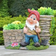 SINTECHNO Hard Working Gnome with Shovel and Two Flower Planter