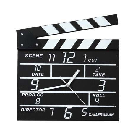Hollywood Action Movie Slate Wall Clock Home Cafe Decor Notepad Clock, Size : 30.2 * 27.5 * 2.5 CM , Weight : 425g , Material: Wood By (Etched Slate)