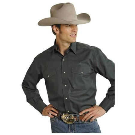 - Roper Western Shirt Mens L/S Solid Poplin Green 03-001-0265-1068 GR