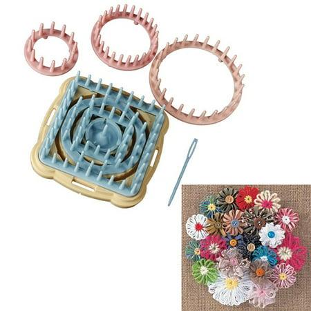 Meigar 9pcs 6 Size Knitting Knit Daisy Flower Pattern Loom Maker Yarn Craft Instruction