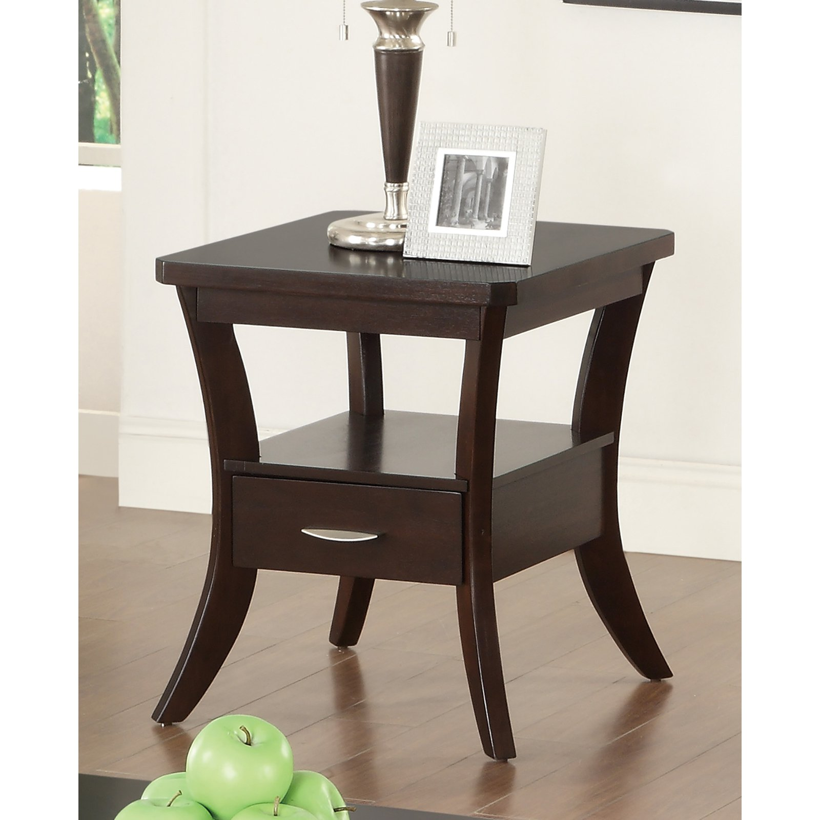 Coaster Contemporary Espresso End Table with Flared Legs