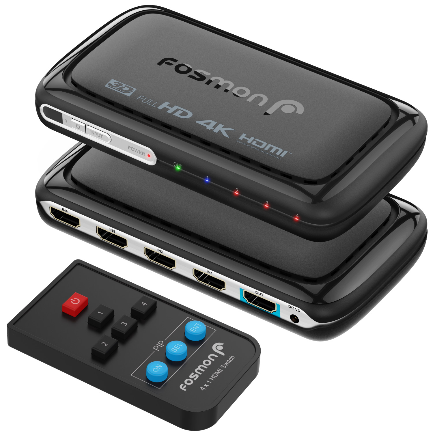Fosmon 4-Port 4K x 2K HDMI Switch Switcher Splitter with PIP, Remote Control & AC Adapter, PS4, Game Consoles, PC & More