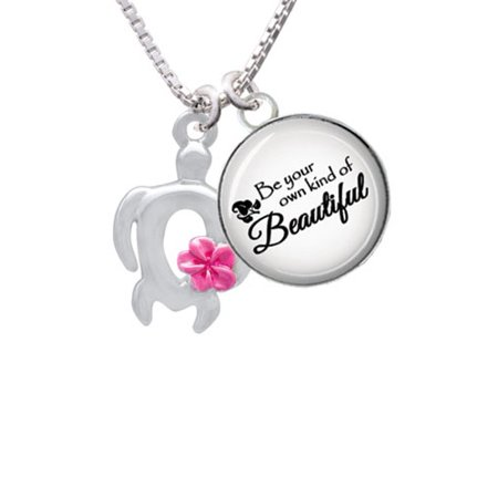 Open Sea Turtle with Hot Pink Plumeria Be Your Own Beautiful Glass Dome Necklace, - Sea Turtle Necklace