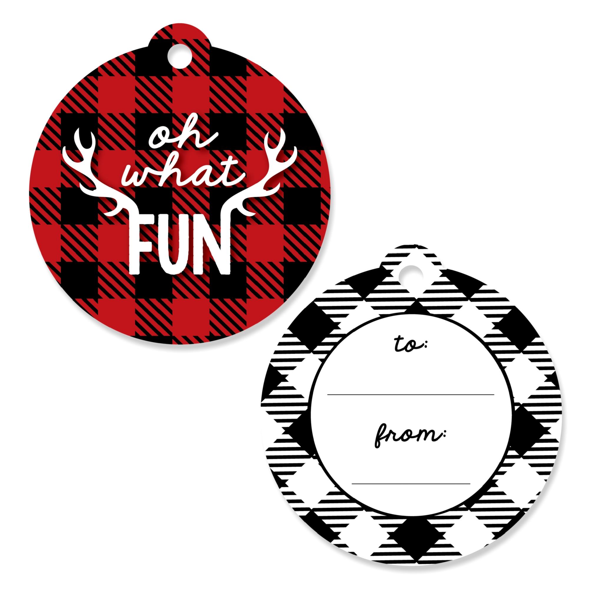Prancing Plaid - Christmas & Holiday Buffalo Plaid Party Favor Gift Tags - Set of 20