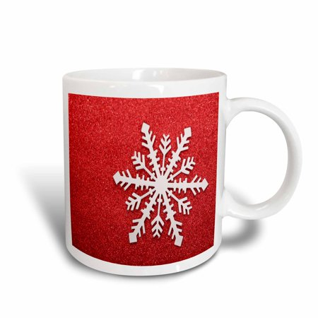 Mug Shot Background (3dRose Snowflake on Red Background , Ceramic Mug,)