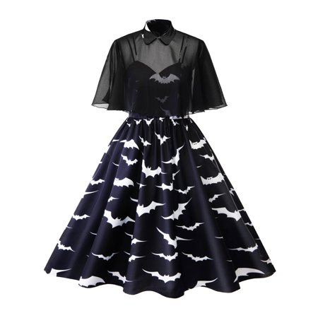 Ladies Halloween Fancy Dress Plus Sizes (Women's Plus Size Dress Cloak 50s 60s Party Cocktail Vintage Rockabilly Pin Up Dress Retro Bat Print Halloween Strappy Top Dress)