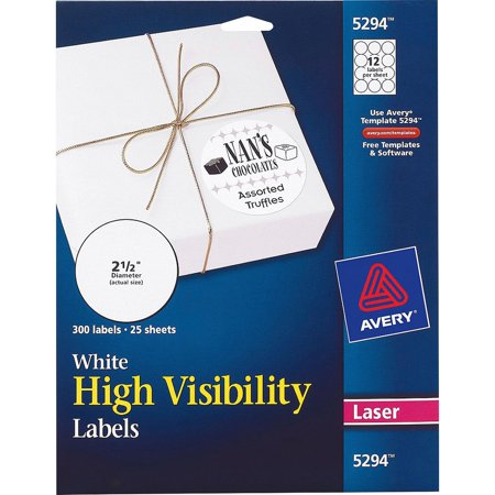 avery r white high visibility labels for laser printers 5294 2 1 2