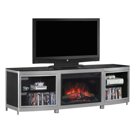 Gotham TV Stand w/ 25″ Curved Infrared Quartz Fireplace, Silver/Black