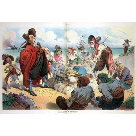 Puck Cartoon 1906 Ndeclaring A Dividend John D Rockefeller And John D Rockefeller Jr Henry H Rogers Henry M Flagler Nelson W Aldrich As Pirates The Pirate Ship Standard Oil Is Anchored Offshore Cartoo