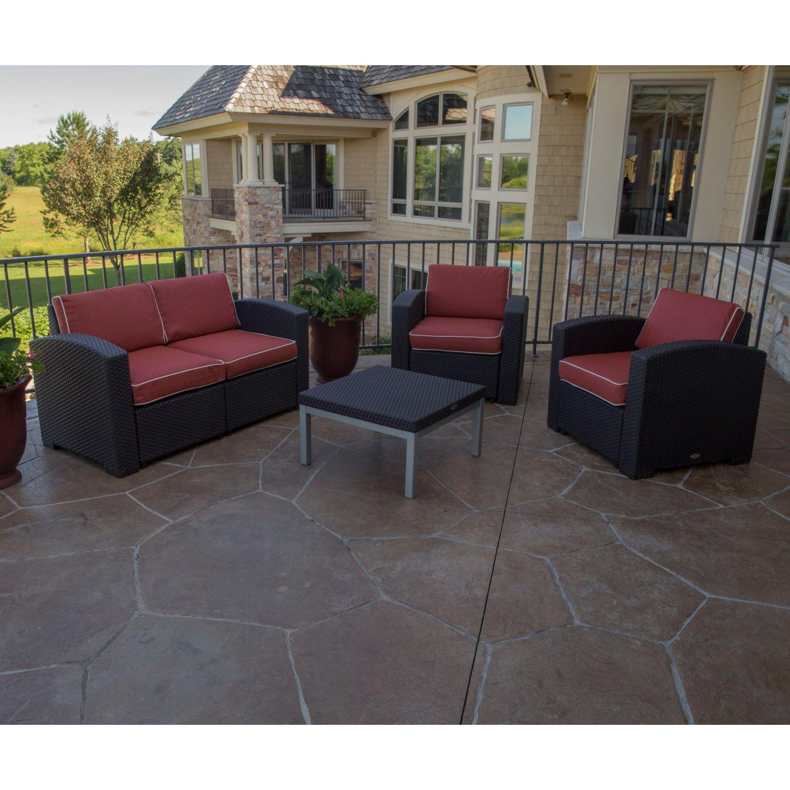Strata Furniture Cielo 4 Piece Chair and Loveseat Conversation Set