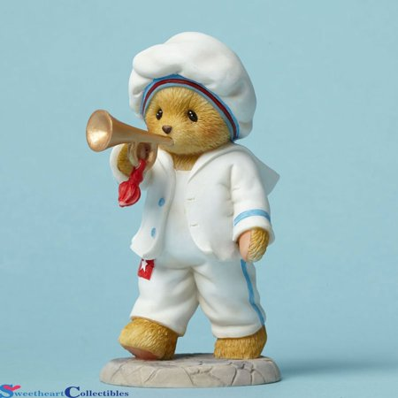 USA Hip Hip Hooray Bear with Trumpet 4th of July Figurine, Cherished Teddies By Cherished