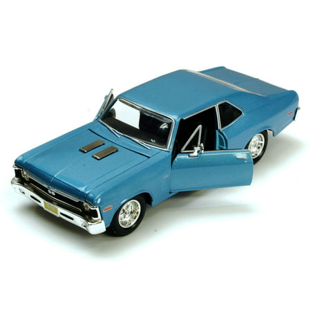 1970 Nova - 1970 Chevy Nova SS, Blue - Maisto 34262 - 1/24 Scale Diecast Model Toy Car (Brand New, but NOT IN BOX)